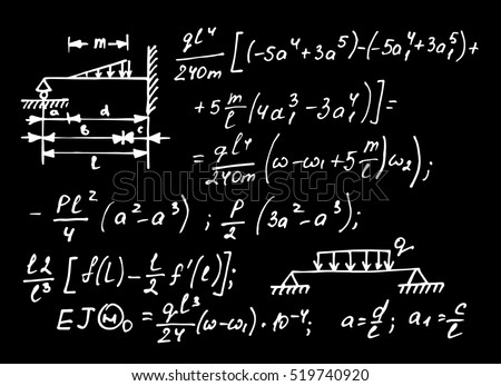 Physical notation with the equations, figures, schemes, plots and other calculations on school board. Handwritten vector illustration. Scientific background.
