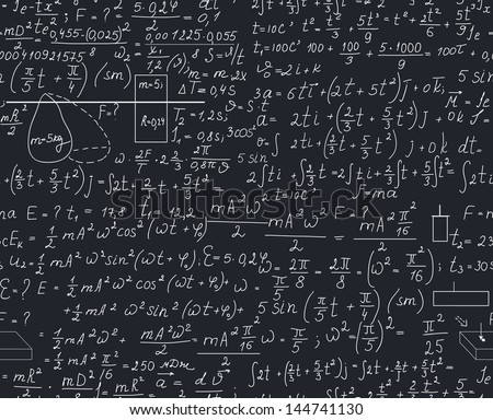 Physical seamless pattern with the equations, plots and other calculations. You can use any color of background. - stock vector