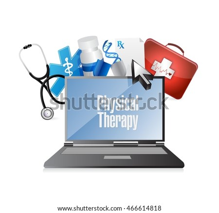 physical therapy medical technology isolated sign illustration design graphic