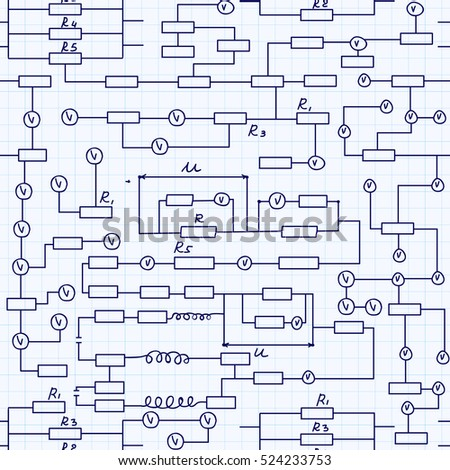 alternating current circuit. physical vector seamless pattern with alternating current circuit schemes, handwritten on grid copybook sheet of c