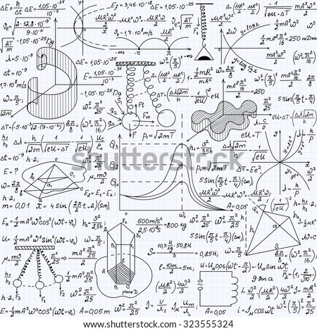 Physical vector seamless pattern with the equations, figures, schemes, plots and other calculations, handwritten texture on a copybook paper sheet - stock vector
