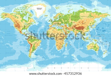 Physical world map stock photo photo vector illustration physical world map gumiabroncs Choice Image