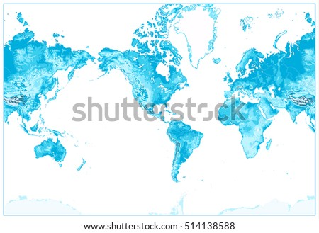 Topographic world map stock images royalty free images vectors physical world map america centered world map in colors of blue no text sciox Image collections