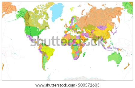 Physical world map colors political world stock vector 500572603 physical world map in colors of political world map isolated on white with a global relief gumiabroncs Choice Image