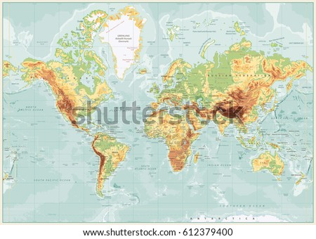 Physical world map retro colors labeling vector de stock612379400 physical world map retro colors with labeling vector illustration gumiabroncs Choice Image