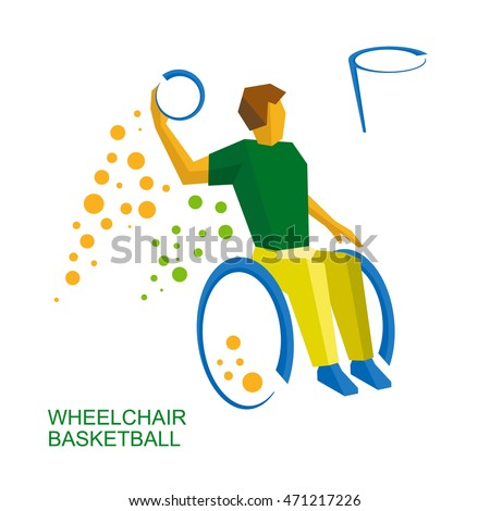 physically disabled basketball player colors games stock vector