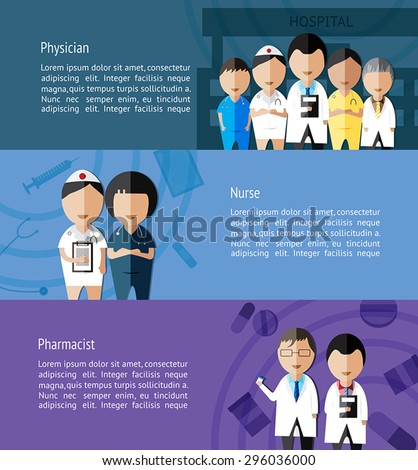 Physicians such as doctor, nurse, and pharmacist and health care profession info graphic banner template layout background designed for website, create by vector - stock vector