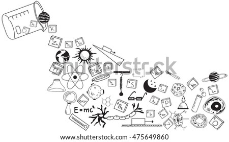 Physics, chemistry, biology and astronomy science doodle handwriting theory and tool icon pouring from lab beaker bottle in white isolated background paper used for school education (vector)