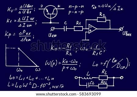 Physics electronic engineering mathematics equation calculations physics electronic engineering mathematics equation and calculations endless hand writing vector blueprint malvernweather Choice Image