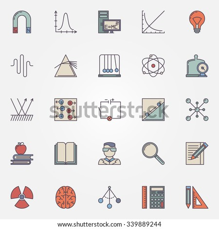 Physics flat icons set - vector colorful science symbols and education elements - stock vector