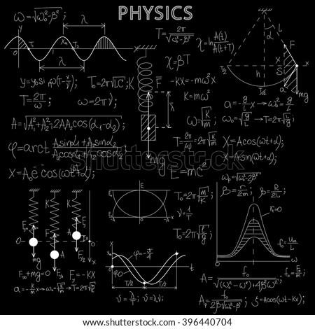 math physics formulas on balck chalkboard stock photo