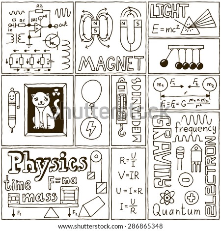Physics Science Banners set. Hand Drawn Vector Illustrations. - stock vector