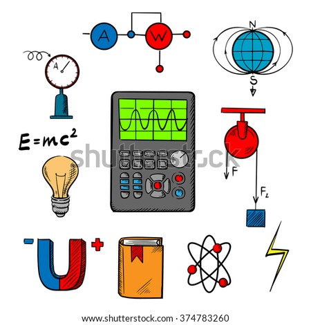 Physics science symbols such as magnet, electric power, atom model, Earth magnetic field, book, formulas, schemes and tools. For education or scientific concept design - stock vector