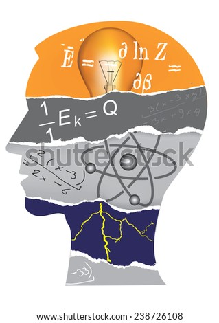 Physics student head silhouette Human Head  silhouette with Physics symbols and notes. Vector illustration.  - stock vector