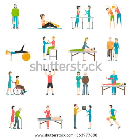 Physiotherapy rehabilitation flat color icons with doctor nurse and patients involved in physical exercises massage and chiropractic isolated vector illustration    - stock vector