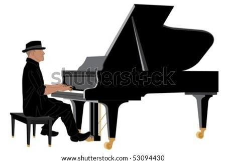 pianist - stock vector