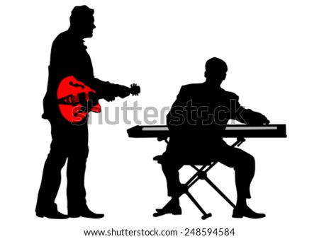Pianist and guitarist of rock band on a white background - stock vector