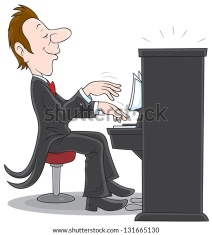 Pianist, inspired musician plays the piano - stock vector