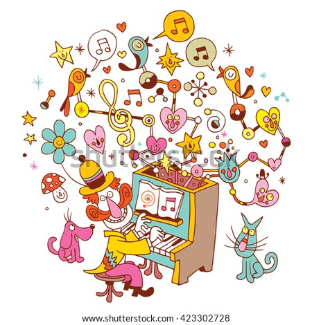 pianist musician plays the piano music fun cartoon illustration - stock vector