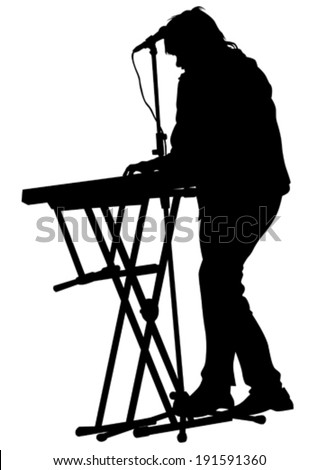 Pianist of rock band on a white background - stock vector
