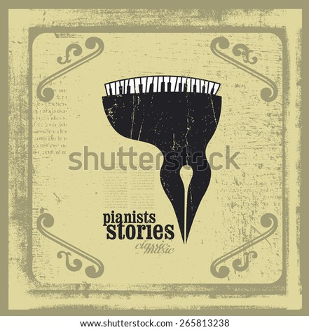 pianists stories with piano and writing pen - stock vector