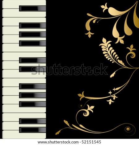 Piano and flower decorate on black background. - stock vector
