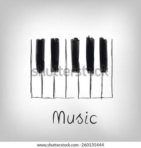 Piano art - hand made piano keys illustration - stock vector