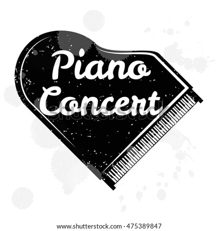 Piano Concert - black grand piano isolated on white. Vector Illustration