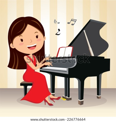 Piano concert. Pianist. Beautiful young woman playing piano on the stage. - stock vector