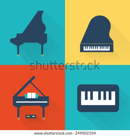 Piano icons - stock vector
