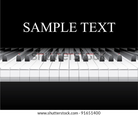 Piano Keyboard with Reflection - stock vector