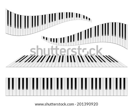 Piano keyboards vector illustrations. Various angles and views  - stock vector
