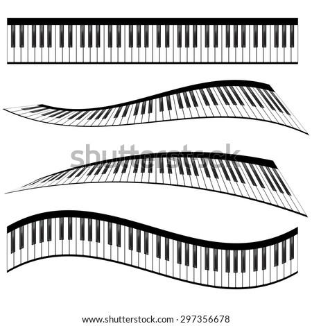 Piano keyboards vector illustrations. Various angles and views - stock vector