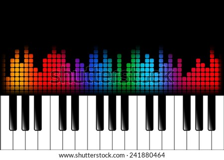 Piano keys and equalizer wave led display - stock vector