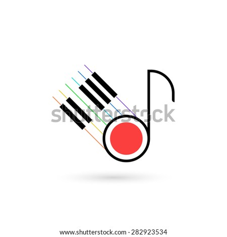 Piano keys and music note vector icon. Flat design style. Isolated on white background, eps 10. - stock vector