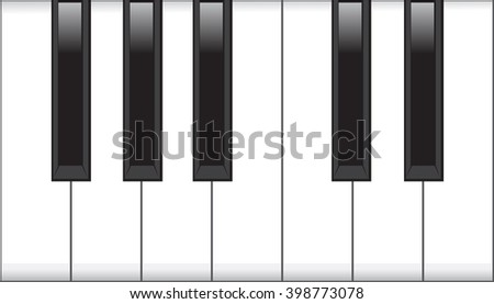 Piano keys isolated on white background. Vector art.