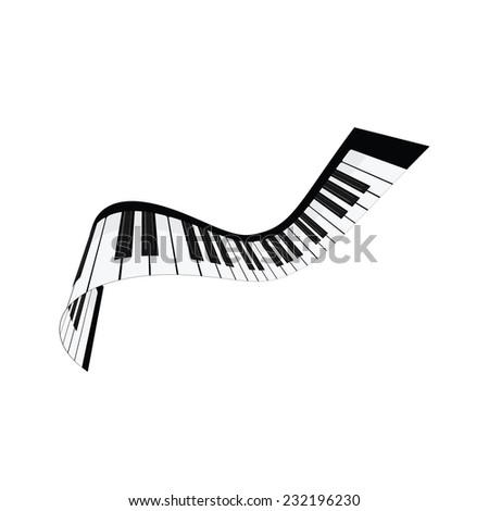 Piano keys, musical instruments, isolated on white, synthesizer - stock vector