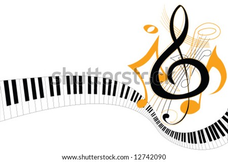 piano keys with notes vector - stock vector