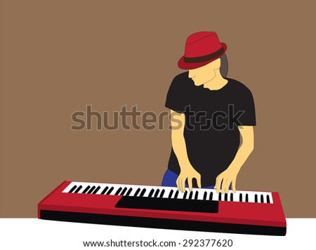 piano man - stock vector
