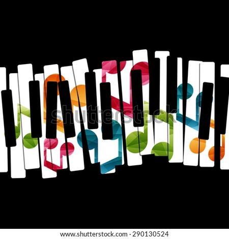 Piano music creative concept illustration. Vector graphic template. - stock vector
