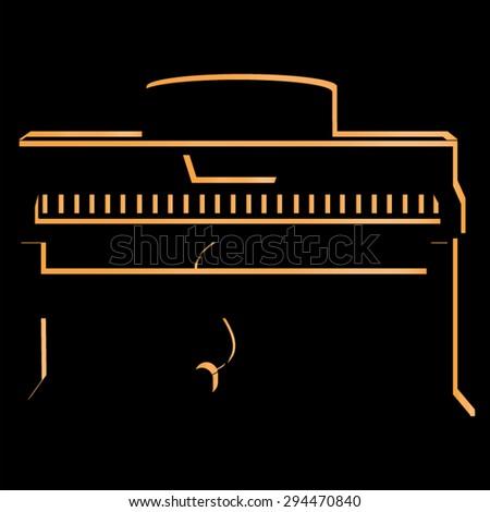 piano, percussion, vector icon, illustration, music,  classical instrument, electric piano - stock vector