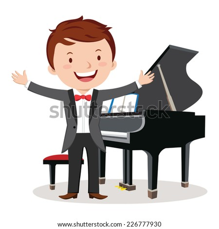 Piano performance. Young pianist standing near piano in suit and gesturing. - stock vector
