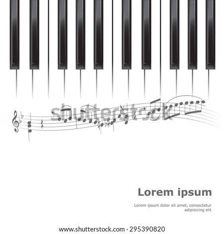 piano poster background template. keyboard with music notes. vector illustration - stock vector