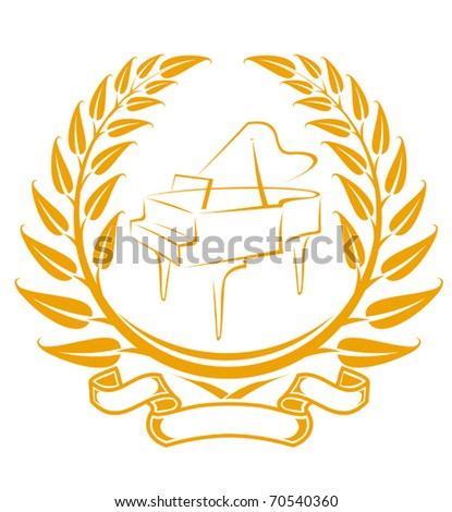 Piano symbol in laurel wreath isolated on white - also as emblem. Jpeg version also available - stock vector