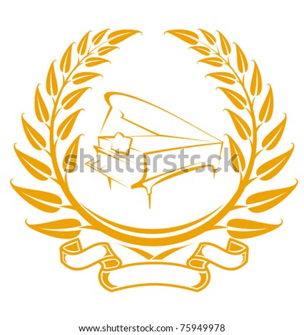 Piano symbol in laurel wreath isolated on white. Jpeg version also available in gallery - stock vector