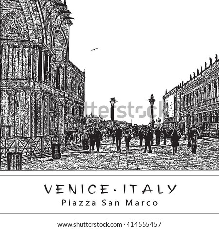 Piazza San Marco in Venice, Italy. Black and white vector illustration in engraving style. EPS 10. Easy editable image. Result of Auto-Trace.