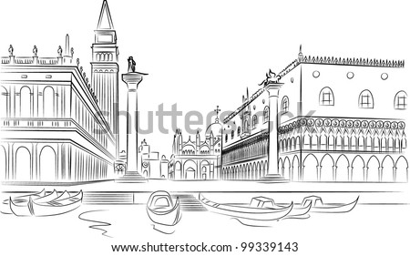 Piazza San Marco with Campanile and Doge Palace. Venice, Italy