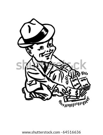 Pick Up Extra Cash - Retro Clipart Illustration