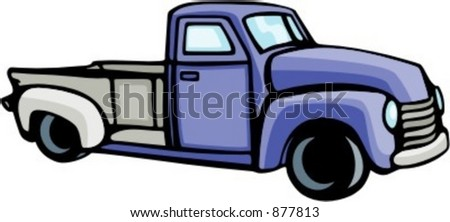 Pick-up truck. Check my portfolio for many more images of this series. - stock vector