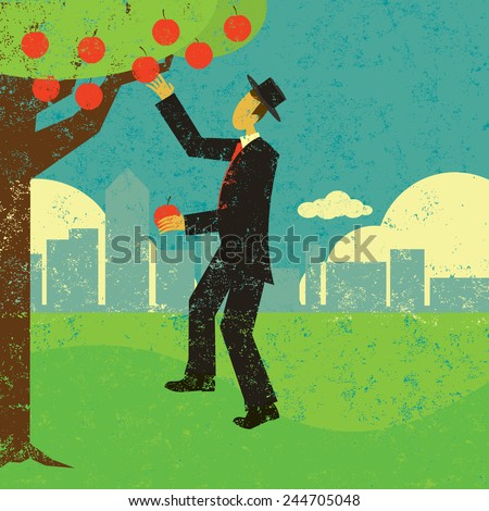 Picking the low hanging fruit A man picking the low hanging fruit. The man & tree and background are on separate labeled layers.  - stock vector